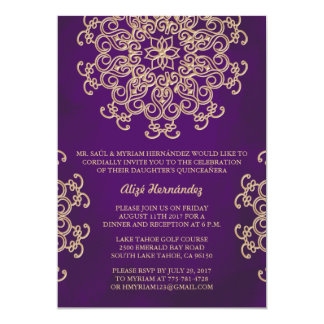 PURPLE AND GOLD INDIAN STYLE QUINCE INVITATION