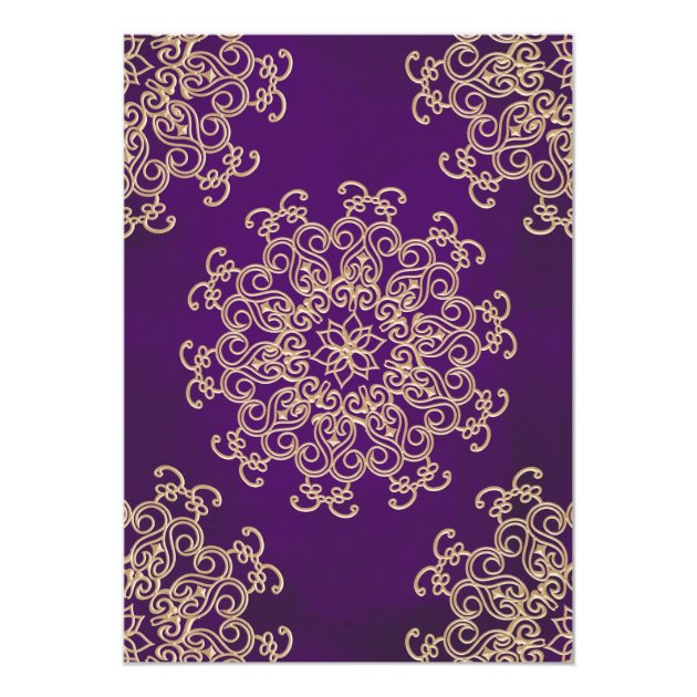 PURPLE AND GOLD INDIAN STYLE WEDDING INVITATION (back side)