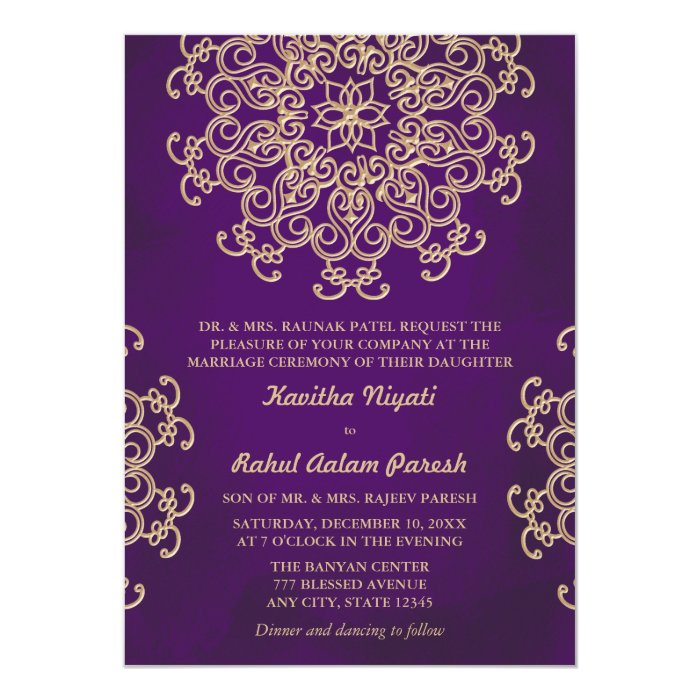 Gold And Purple Wedding Invitations: PURPLE AND GOLD INDIAN STYLE WEDDING INVITATION