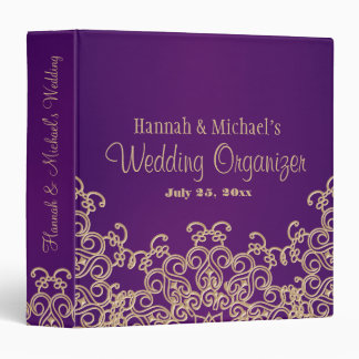 Purple and Gold Indian Style Wedding Organizer 3 Ring Binders