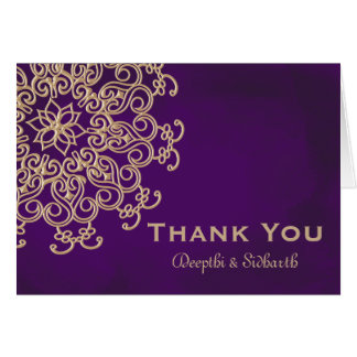 PURPLE AND GOLD INDIAN STYLE WEDDING THANK YOU STATIONERY NOTE CARD