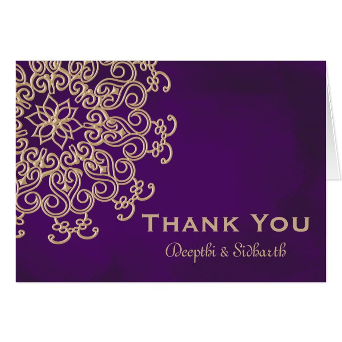 PURPLE AND GOLD INDIAN STYLE WEDDING THANK YOU CARD | Zazzle
