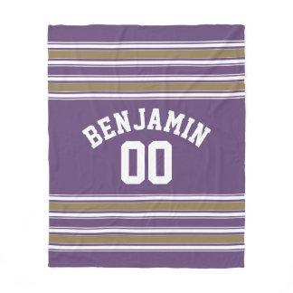 Purple and Gold Jersey Stripes Custom Name Number Fleece Blanket