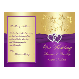 Purple and Gold Joined Hearts Wedding Program