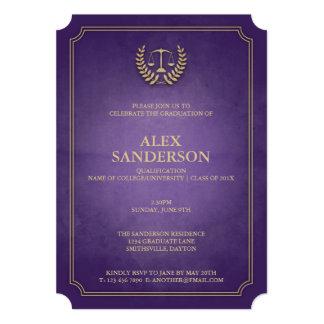 Purple and Gold Law School Graduation 5x7 Paper Invitation Card