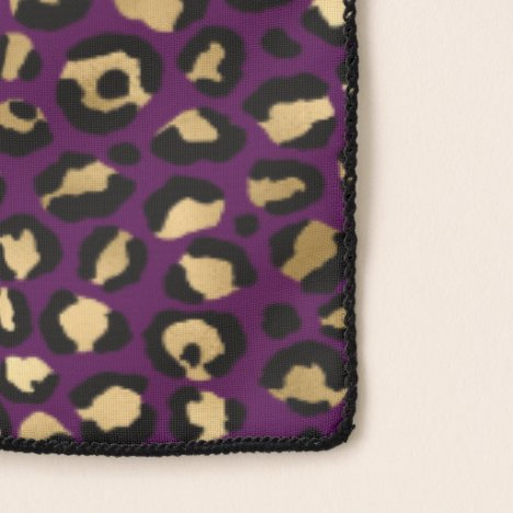 Purple and Gold Leopard Print Scarf