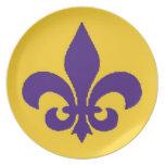 Purple and Gold Louisiana Fleur de Lis Plate