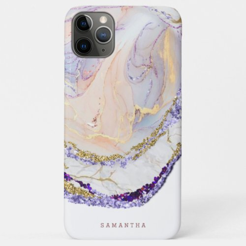 Purple And Gold Marble Monogram Phone Case