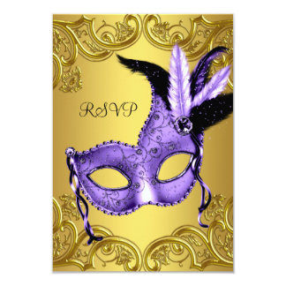 Purple and Gold Masquerade Party RSVP Card