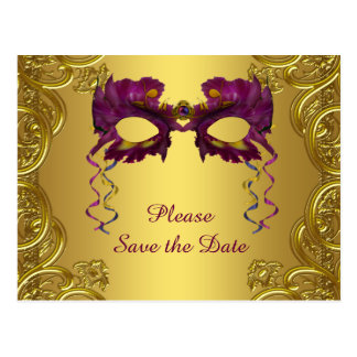 Purple and Gold Masquerade Party Save The Date Postcard