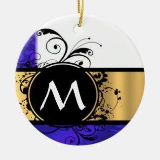 Purple and gold monogram ceramic ornament