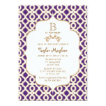 Purple and Gold Moroccan Baby Girl Baby Shower 5x7 Paper Invitation Card