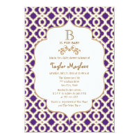 Purple and Gold Moroccan Baby Girl Baby Shower Card