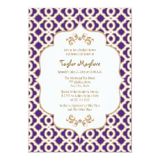 Purple and Gold Moroccan Bridal Shower Invites at Zazzle