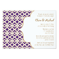 Purple and Gold Moroccan Couples Wedding Shower 5x7 Paper Invitation Card (<em>$2.16</em>)