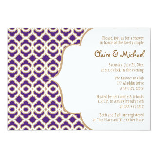 Purple and Gold Moroccan Couples Wedding Shower Card