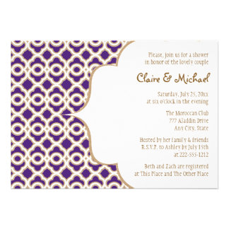 Purple and Gold Moroccan Couples Wedding Shower Personalized Invitation