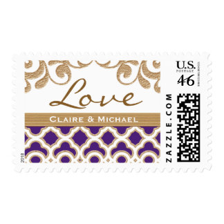 Purple and Gold Moroccan Love Wedding Stamp