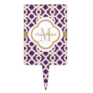 Purple and Gold Moroccan Monogram Couples Cake Topper