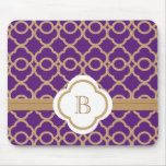 Purple and Gold Moroccan Monogrammed Mouse Pad