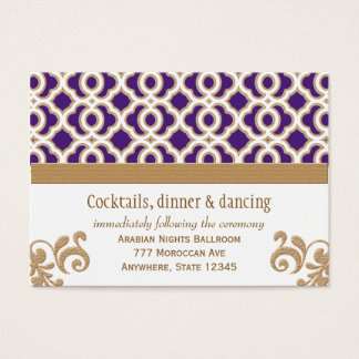 Purple and Gold Moroccan Reception Enclosure Card