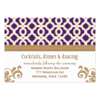 Purple and Gold Moroccan Reception Enclosure Card Large Business Cards (Pack Of 100)