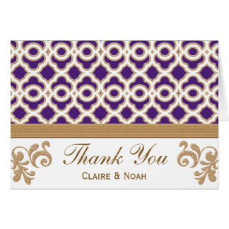 Purple and Gold Moroccan Thank You Wedding Card