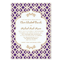 Purple and Gold Moroccan Wedding Invitations