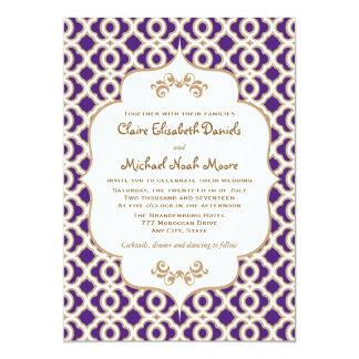 Purple and Gold Moroccan Wedding Invitations