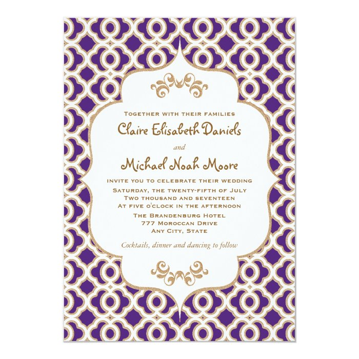 Gold And Purple Wedding Invitations: Purple And Gold Moroccan Wedding Invitations