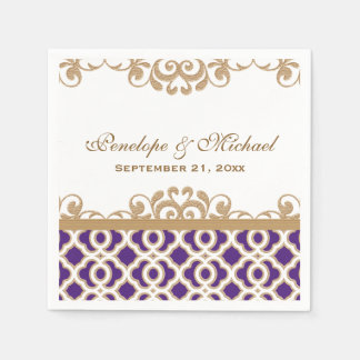 Purple and Gold Moroccan Wedding Napkin
