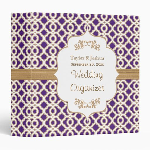 Purple and Gold Moroccan Wedding Organizer Vinyl Binders