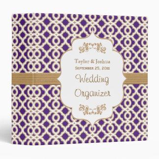 Purple and Gold Moroccan Wedding Organizer Vinyl Binder