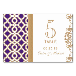 Purple and Gold Moroccan Wedding Table Number Card