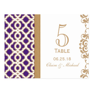Purple and Gold Moroccan Wedding Table Number Postcard