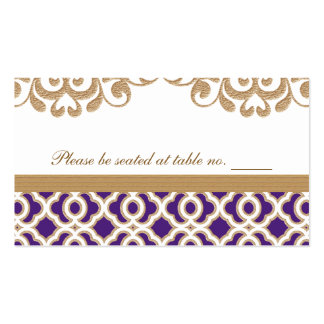 Purple and Gold Moroccan Wedding Table Place Business Cards