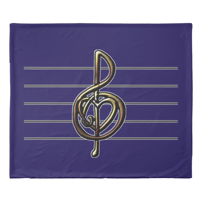 Purple and Gold Music Lovers Treble Clef Duvet Cover