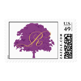 Purple and gold oak tree postage