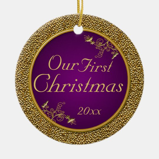"Purple and Gold ""Our First Christmas"" Ornament"
