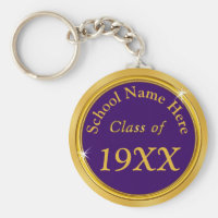 Purple and Gold Personalized Class Reunion Gifts Keychain
