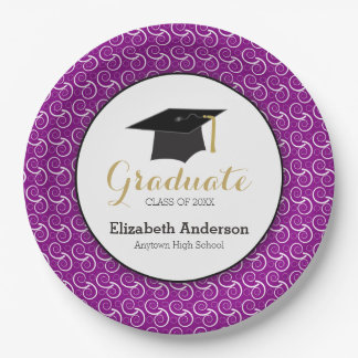 Purple and Gold, Personalized Graduation Paper Plate