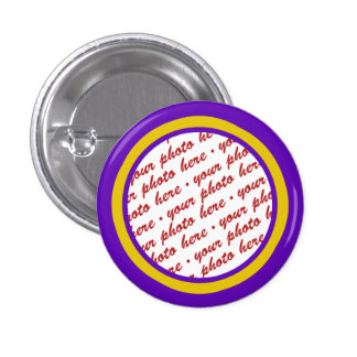 Purple And Gold Photo Frame Template Pinback Button