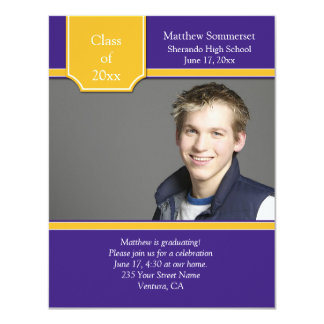 Purple and Gold Photo Graduation Invitation
