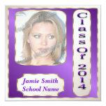 """Purple and Gold Photo Graduation Party Invitations 5.25"""" Square Invitation Card"""