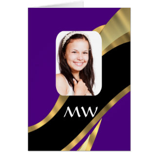 Purple and gold photo template card