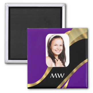 Purple and gold photo template magnet