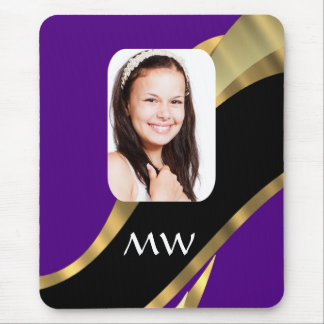 Purple and gold photo template mouse pad