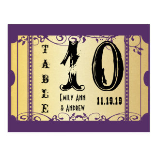 Purple and Gold Playbill Swirls Table Number Postcard