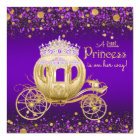 Purple and Gold Princess Carriage Baby Shower Card