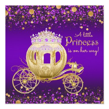 Toddler & Baby themed Purple and Gold Princess Carriage Baby Shower Card